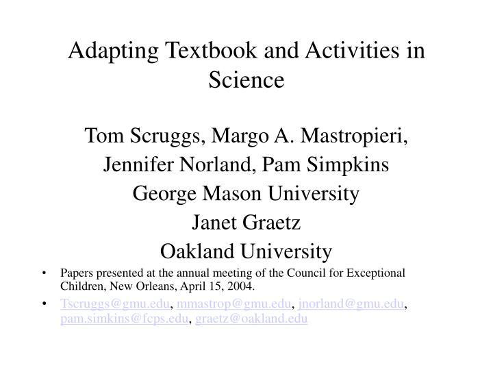 adapting textbook and activities in science n.