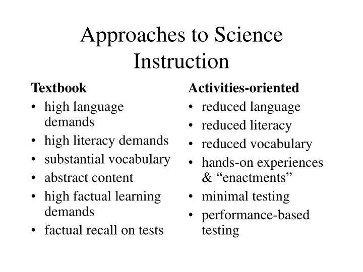 Approaches to science instruction
