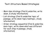 text structure based strategies