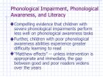 phonological impairment phonological awareness and literacy