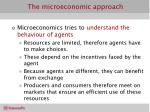 the microeconomic approach