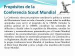 prop sitos de la conferencia scout mundial