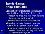 sports games know the game