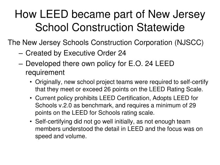 How LEED became part of New Jersey School Construction Statewide