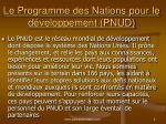 le programme des nations pour le d veloppement pnud