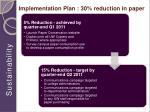 implementation plan 30 reduction in paper