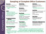 sampling of complete office customers