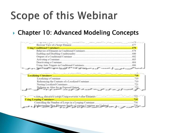 Scope of this webinar1