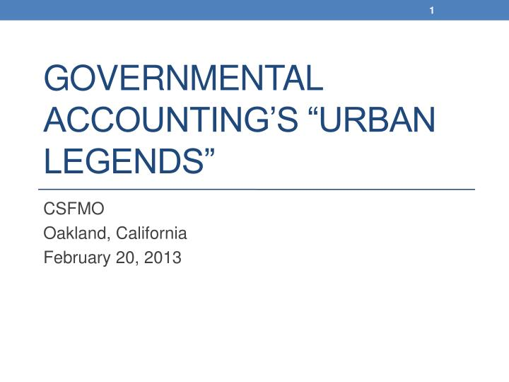 governmental accounting s urban legends n.