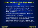components of the covis testbed in 1992 93