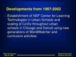 developments from 1997 2002