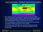 use scenario global warming studies