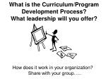 what is the curriculum program development process what leadership will you offer