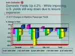 domestic yields up 4 2 while improving u s yields still way down due to leisure expansion