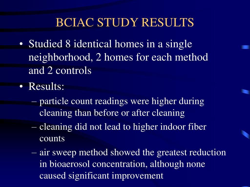 BCIAC STUDY RESULTS