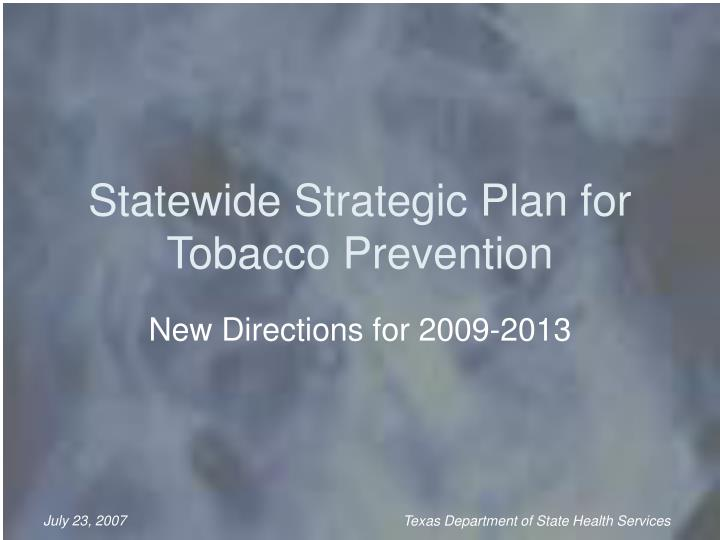 statewide strategic plan for tobacco prevention n.