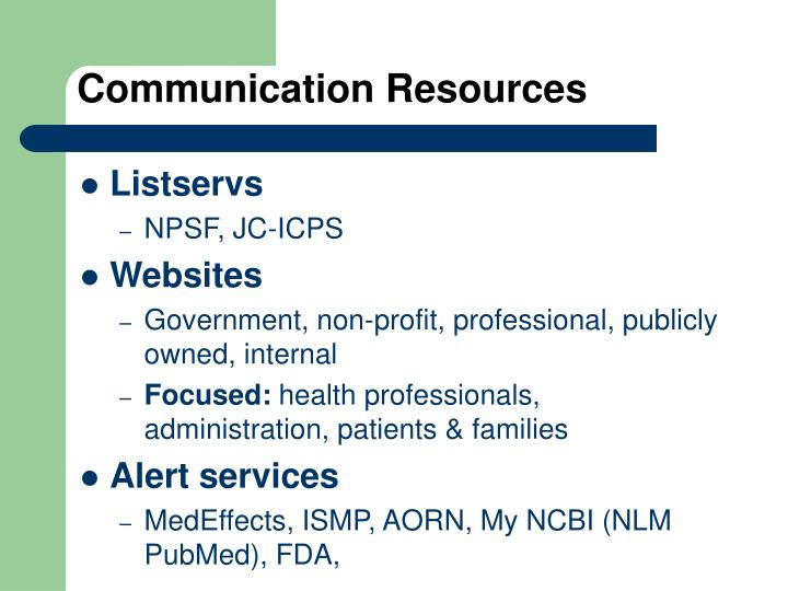Communication Resources