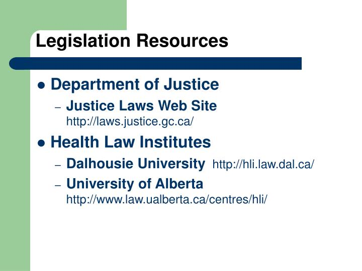 Legislation Resources