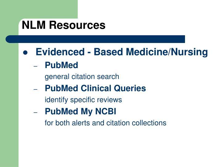 NLM Resources