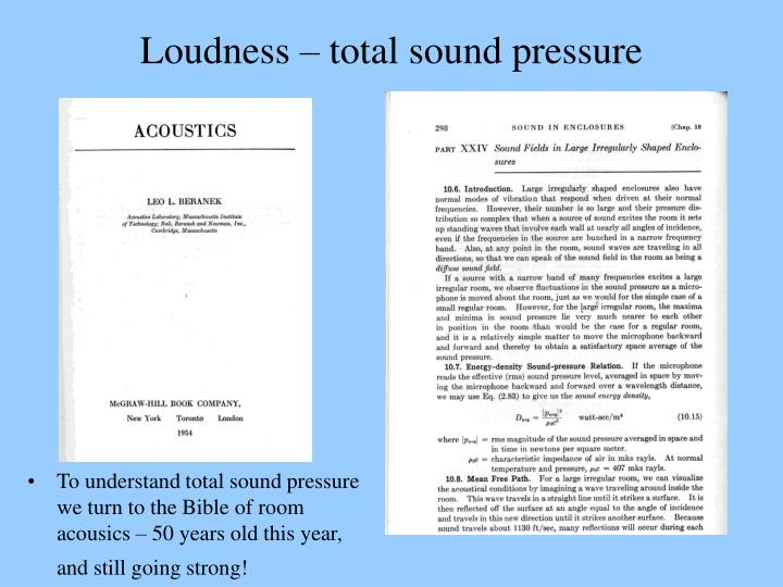 Loudness – total sound pressure