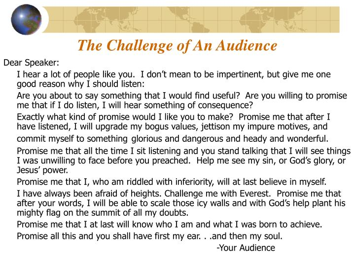 the challenge of an audience n.