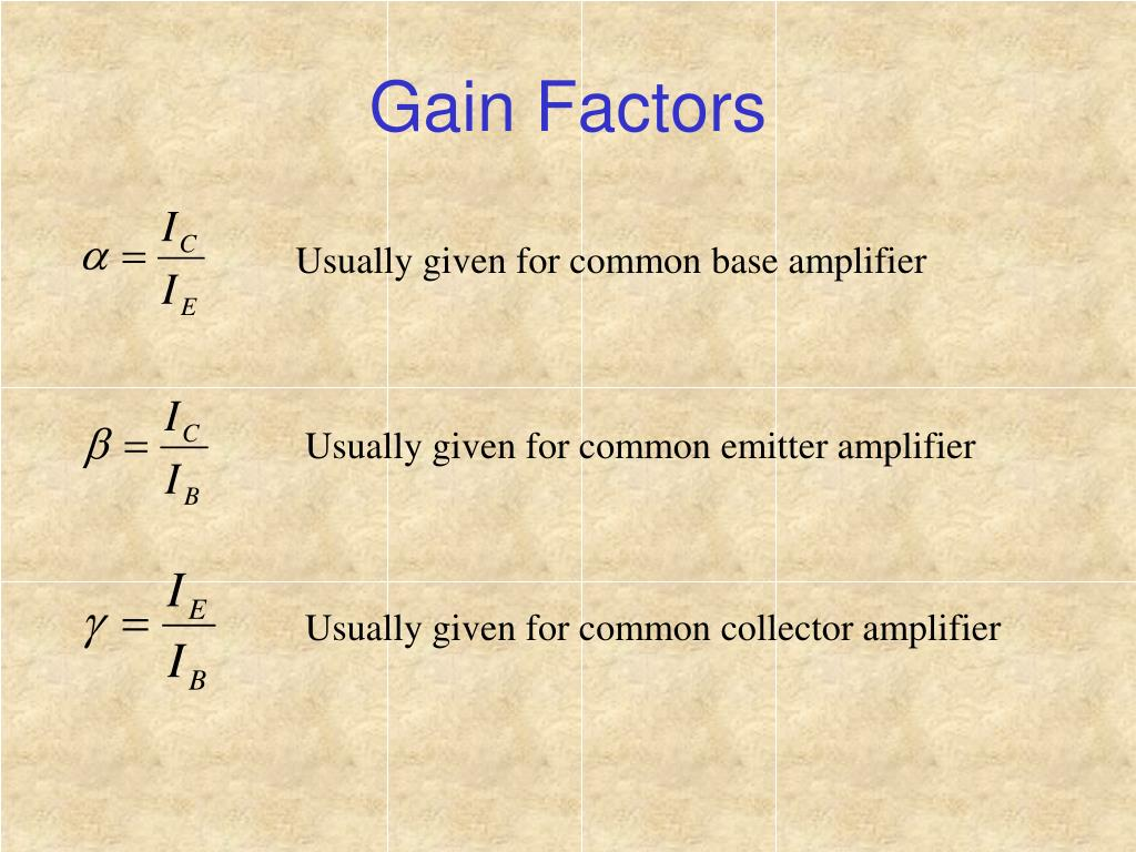Usually given for common base amplifier