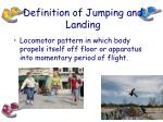 definition of jumping and landing