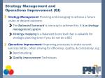 strategy management and operations improvement qi