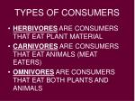 types of consumers