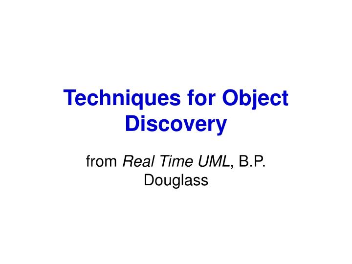 techniques for object discovery n.