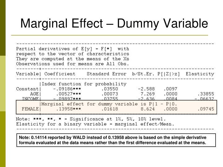 Marginal Effect – Dummy Variable