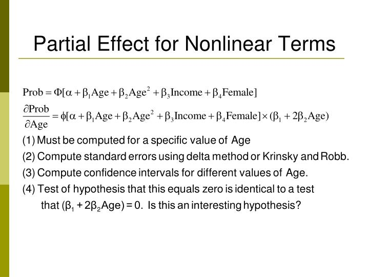 Partial Effect for Nonlinear Terms