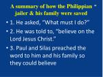a summary of how the philippian jailer his family were saved