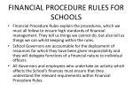 financial procedure rules for schools