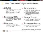 most common obligation attributes