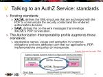 talking to an authz service standards