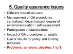 5 quality assurance issues