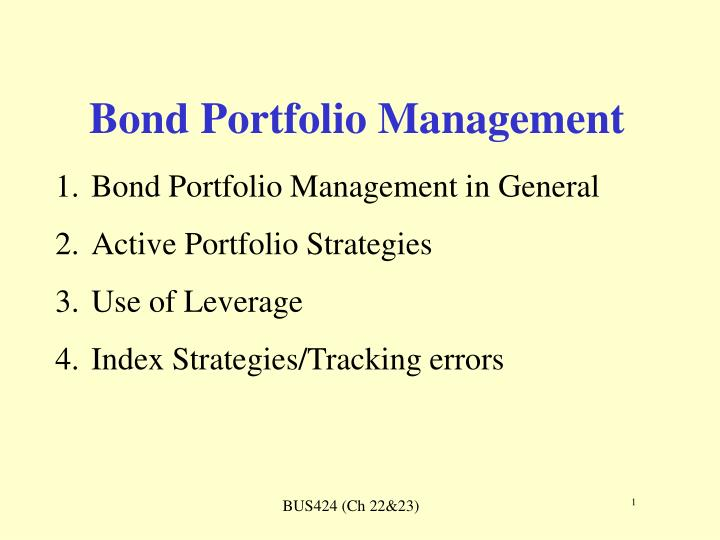 bond portfolio management n.