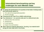 international benchmarking and key challenges for each member state