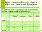 relative outcomes of countries related to child poverty risk and main determinants2