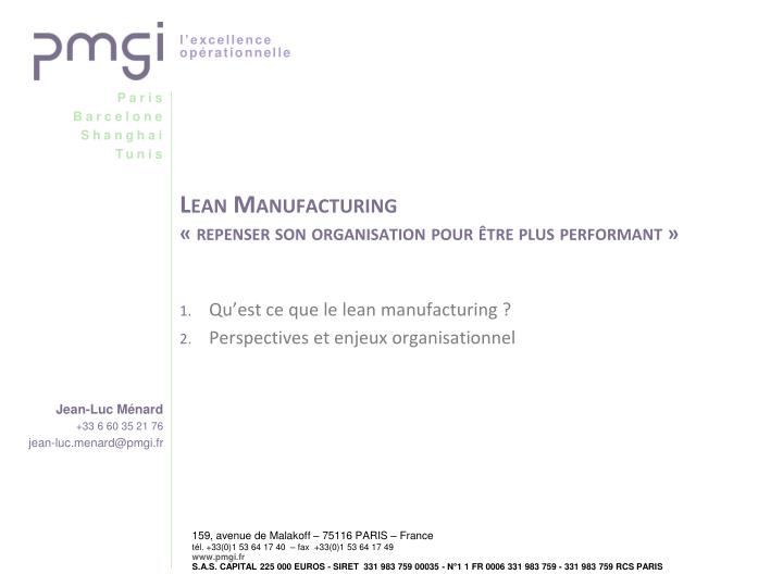 lean manufacturing repenser son organisation pour tre plus performant n.