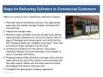 steps for delivering cylinders to commercial customers