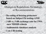 changes in regulations technology or recommendations