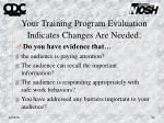 your training program evaluation indicates changes are needed