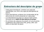 estructura del descriptor de grupo