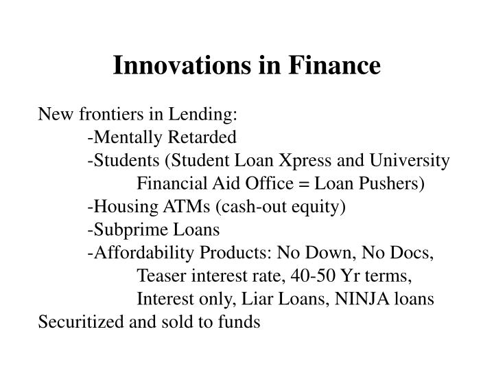 Innovations in Finance