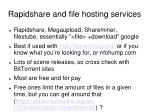 rapidshare and file hosting services