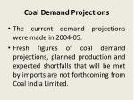 coal demand projections