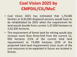 coal vision 2025 by cmpdil cil moc