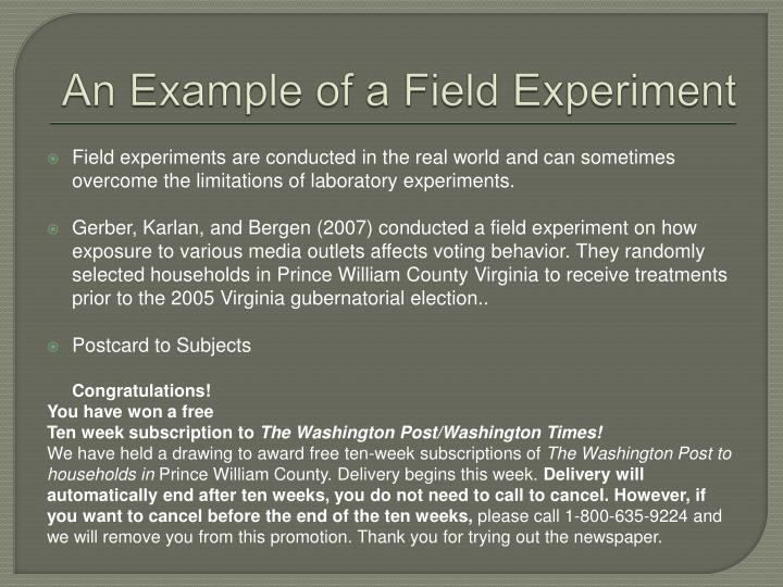 An Example of a Field Experiment